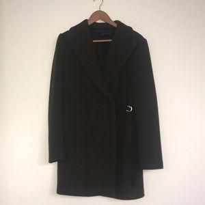 Green side-tie pea coat